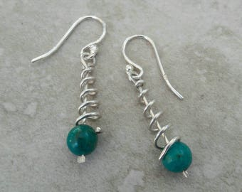 Sterling silver wire and turquoise spiral drop earrings