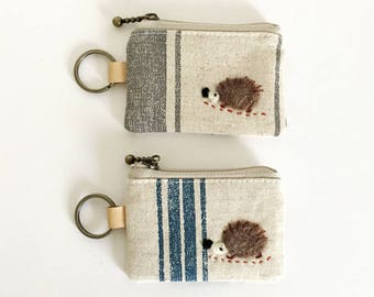Key/coin purse -  stripe linen cotton with a hedgehog applique