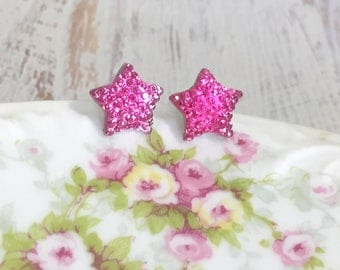 Small Sparkling Bumpy Druzy Pink Celestial Star Stud Earrings with Surgical Steel Posts