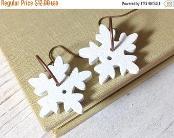 Christmas in July SALE. Snowflake Earrings, Funky Wooden Sewing Button Earrings for Christmas, Winter Wonderland Fun Earrings, KreatedByKell