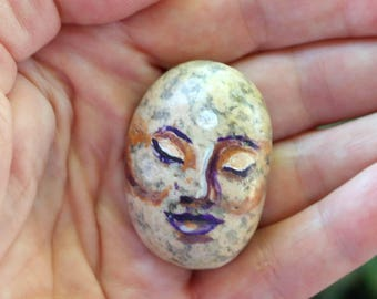 Buddha Face Original Painting on a Stone - Small Spiritual Zen Meditation Rock Painting - One of a Kind Unique Collectible - Signed
