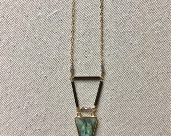 Triangular Labrodite and Gold necklace