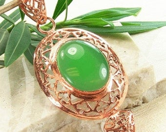 Copper pendant with green aventurine or onyx, green semiprecious stone, ornate copper pendant, spring green, statement necklace pendant