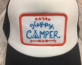 Toddler/Kids Trucker Hat- Happy Camper Patch- Black/Whi...