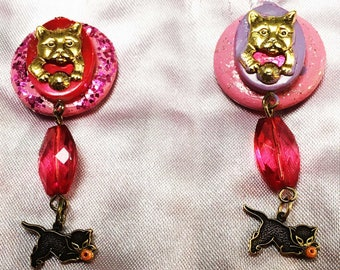 Pussy pins with pink beads, two new pussy pins,feminist pins,cat brooches,kitty pins,pink pussy brooches, pins,brooches, womens march,jan.20