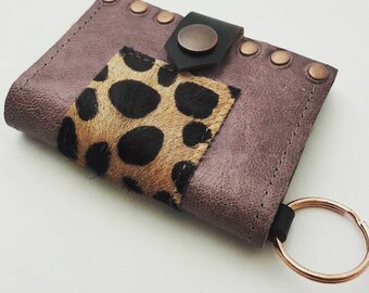 SALE Lavender Leather & Leopard Wallet