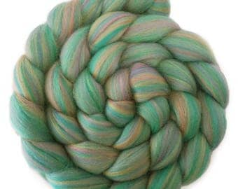 Custom Blended 100% Merino Wool Roving Top - 4 oz. JADE - Spinning Felting Fiber