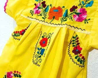 Mexican Baby Dress Embroidered Yellow Fiesta Flower Girl Toddler Dress - Size 2