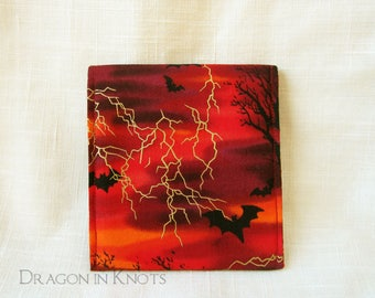Bat Snap Pouch - Halloween Tea Wallet, Red and Black Computer Mouse Case, 4 inch Accessory Holder, Pocket Mirror Sleeve, Stormy Night