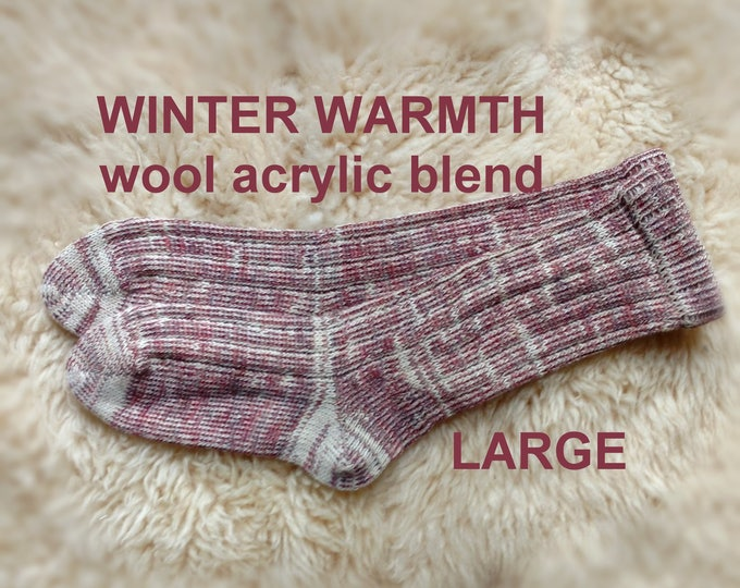 Winter Warmth Woolen Socks --- washable wool from the USA --- size LARGE