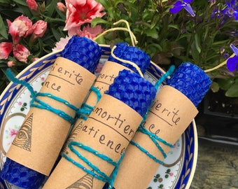 DUMORTIERITE / PATIENCE - Hemp and Beeswax Hand Rolled Candles - Crystal Infused Beeswax Honeycomb Thoughtful Candles