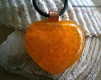 Fused Glass Heart Pendant with Black Rubber Cord, Golden Yellow, Glass Jewelry, Glass Pendant, Heart, Willow Glass, SRAJD