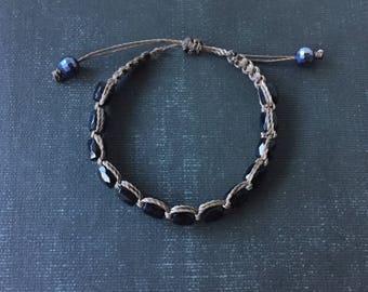 Black Unisex Bracelet. Macrame Adjustable Length Brown and Black