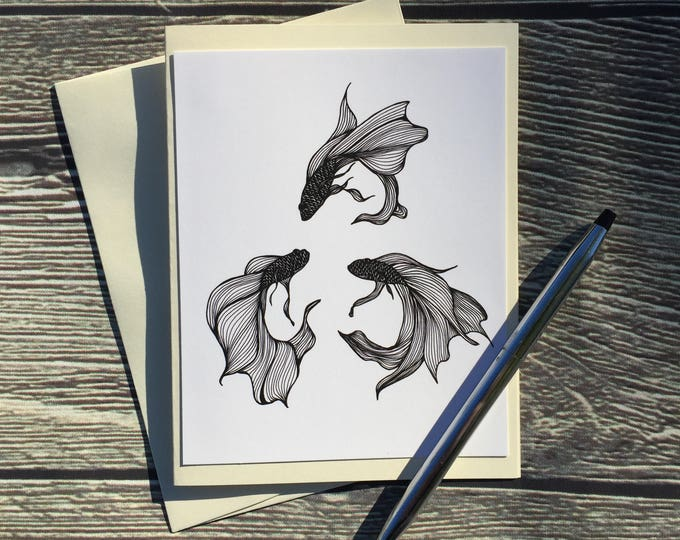 Featured listing image: Betta Triquetra Original Ink Drawing Print - Ivory Note Card