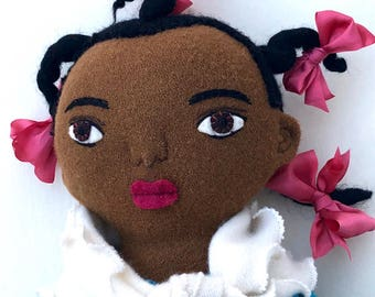 Girl doll wool with Hair Bows