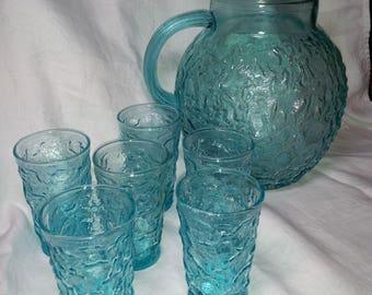Anchor Hocking lido milano Ball Pitcher and 6 juice glasses, turquoise, aquamarine