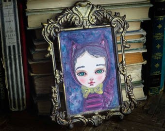 The Cheshire cat. Original watercolor painting by Danita. Alice in Wonderland illustration wall art, great decoration for kids rooms.
