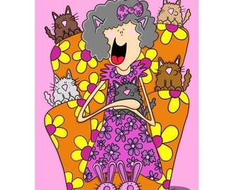 Crazy cat lady print