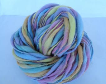 Handspun merino yarn, thick and thin yarn, PASTEL, super bulky yarn, dolls hair, dreads, giant knitting, rainbow yarn, purple, 60yds, 3.5oz