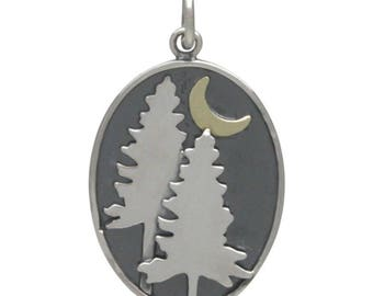 Pine Tree Pendant - Moon - DIY jewelry - add to your necklace or bracelet - oval - outdoors - hiking - camping gift for her