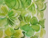 Reserved for K - 20 x 40 green hydrangea watercolor painting