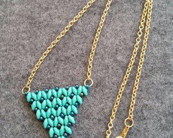 SuperDuo Turquoise and Iris Rainbow Pendant Necklace