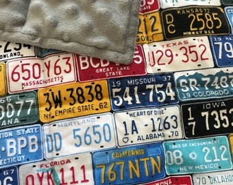 Weighted Blanket - Adult or Child - License Plates - Choose your weight (up to 15 lbs) and minky color