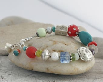 Turquoise Gemstones HILL TRIBE Silver Sterling Silver Bracelet // handcrafted jewelry // luluglitterbug