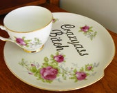 Crazyass Bitch hand painted vintage teacup and saucer plate or tennis set tableware, recycled one of a kind.