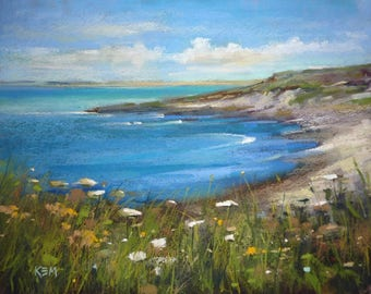 IRELAND Seascape Blue Sea with Wildflowers Original Pastel Painting Karen Margulis 11x14