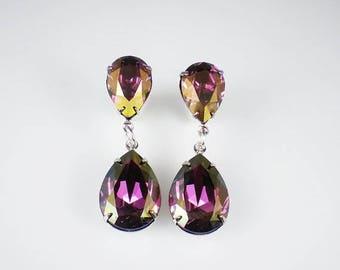 SUMMER SALE 3 Pairs of Rhinestone Earrings Lilac Shadow Swarovski Dangle Earrings Wedding Jewelry Bridesmaid Earrings MADE To Order
