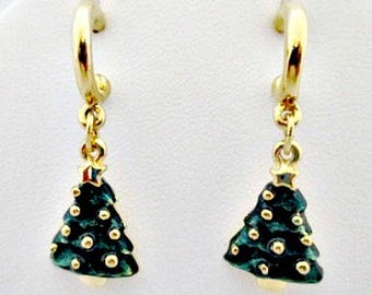Christmas Tree Earrings - Vintage Dangle Pierced Earrings - Stud Earrings Christmas Tree Jewelry - Vintage Holiday Jewelry Gift