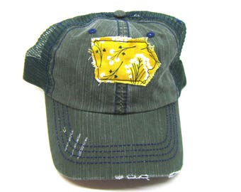 Clearance - Sale - Gift - Gracie Designs Hat - Iowa fabric State distressed trucker
