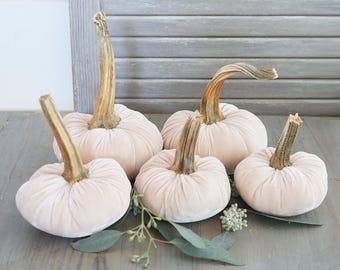 Set of Silk Velvet Pumpkins, Pink Champagne Cottage Style Fall Decor