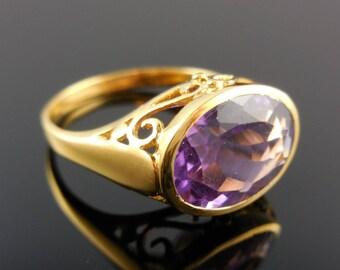 Amethyst gemstone 18kt gold-over-sterling silver (vermeil) ring - size 9.25
