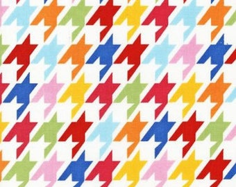 ON SALE - 10% Off Robert Kaufman Remix Houndstooth Bright Quilting Apparel Fabric BTY