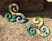 Yellow and Soft Green Triple Swirl Torch Fired Enamel Charms