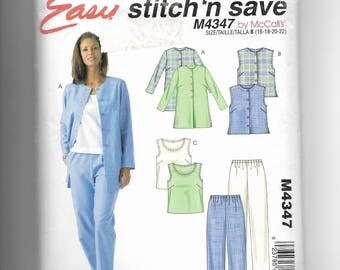McCall's Misses' /Petite Miss Unlined Jacket, Vest, Top and Pants Pattern 4347