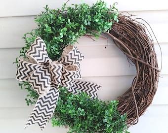 Boxwood Wreath with Chevron Bow, Spring Boxwood Wreath, Summer Boxwood Wreath, Front Door Wreath, Year Round Wreath, Welcome Wreath, Mantel