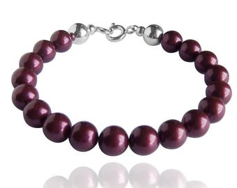 Swarovski Pearl and Sterling Silver Bracelet in Blackberry or CHOICE OF COLOURS
