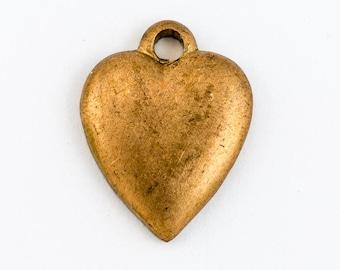 10mm Raw Brass Simple Heart Charm (2 Pcs) #CHA224