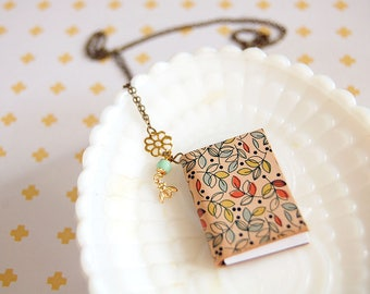 little blank book necklace- floral print leather- journal-vintage bead and bee-  long chain