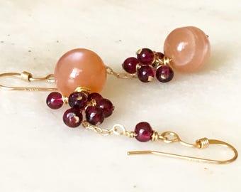 Garnet and Moonstone Earrings, Garnet Cluster Earrings, Peach Moonstone Earrings, Gold Filled Earrings, Gemstone Earrings