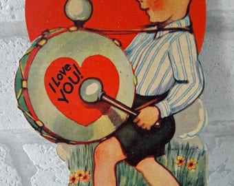 Vintage 1930's Little Boy Playing The Drum Valentines Greetings Card (B15)