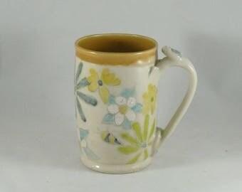 Extra Large Pottery Mug, Gift for Her, Coffee cup, 18 ounces tea mug, Save the Bees, ceramic teacup, pottery mug, ceramic cup or mug 899