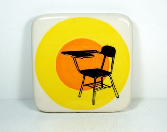 tile with yellow & orange color block and a school desk print, ready to ship