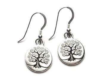 Tree of Life Dangle Earrings Fine Silver Plated Pewter with Sterling Silver Earwires Celtic Myth Boxed