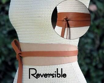 REVERSIBLE Leather Belt obi Wrap Sash - Camel Brown/Beige - XS S M L Petite & Plus Size - textured taffeta fabric for reverse
