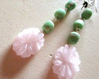 Carved Rose Quartz Flower & Chrysoprase - Belle Fleur Gemstone Earrings - Etsy Accessories - catROCKS - Handmade Jewelry - Pink Green Floral
