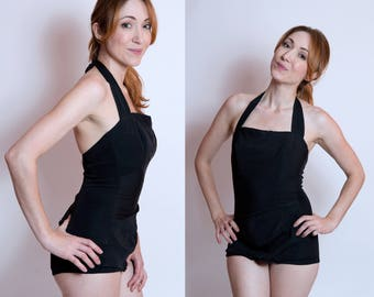 50's Black Halter One Piece Swimsuit Bathing Suit- Catalina California Pinup Rockabilly